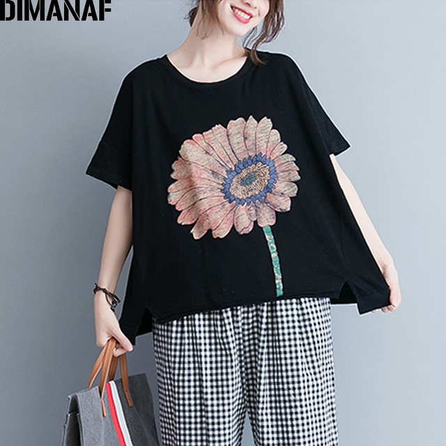 920f5348354 DIMANAF Women tshirt Summer Basic Tops Tees Cotton Plus Size Black T-Shirt  Print Floral