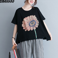DIMANAF Women tshirt Summer Basic Tops Tees Cotton Plus Size Black T Shirt Print Floral Femme Large Clothing Loose Casual 2018