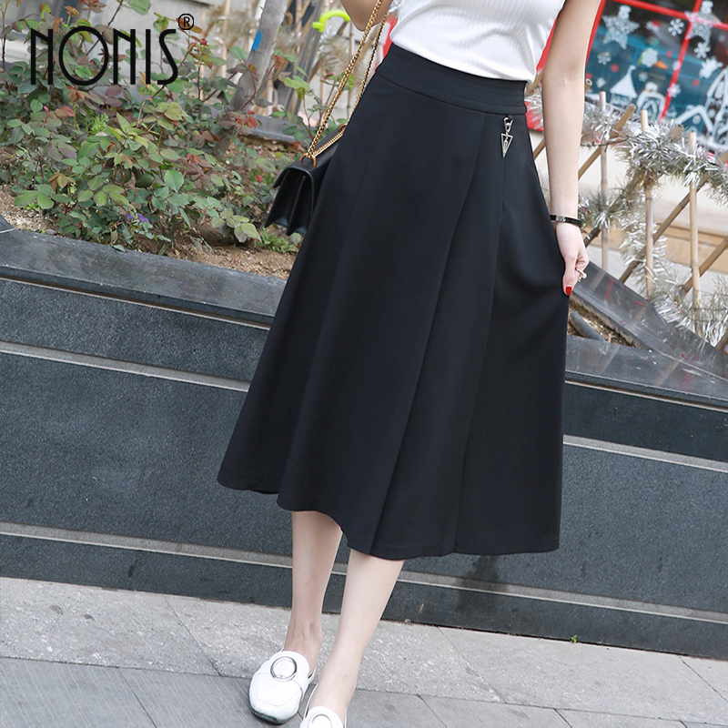 Nonis Plus Size Summer Women Pure Black Wide Leg Loose Skirt Pants Female Casual Skirt Trousers Ladies Office Capris Culottes  by Nonishang