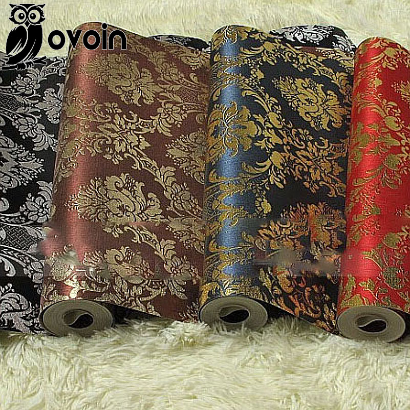 Buy black red brown blue european luxury for Black and silver living room wallpaper