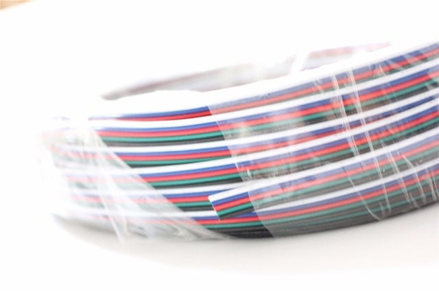 5m/10m/20/50m 4pin 5pin 22AWG Led Connect LED RGB cable Extension Extend Wire Cord Connect For RGB rgbw  5050 3528 LED Strip