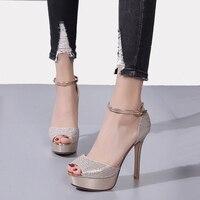 Ladies High Heel Shoes Elegant Open Toe Women High Heels 12cm Dress Shoes Women Silver High Heel Pumps Elegant Rhinestone Heels