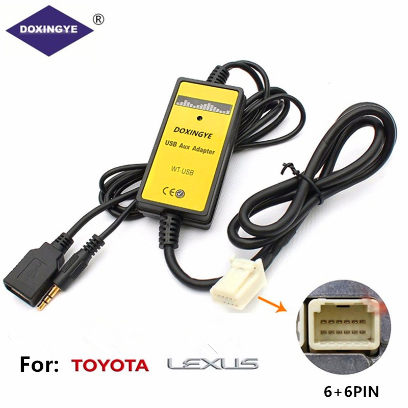 DOXINGYE Car Radio Digital USB MP3 Interface CD Changer Adapter with 3.5mm AUX In Input For TOYOTA LEXUS Corolla Series 6 + 6PINDOXINGYE Car Radio Digital USB MP3 Interface CD Changer Adapter with 3.5mm AUX In Input For TOYOTA LEXUS Corolla Series 6 + 6PIN