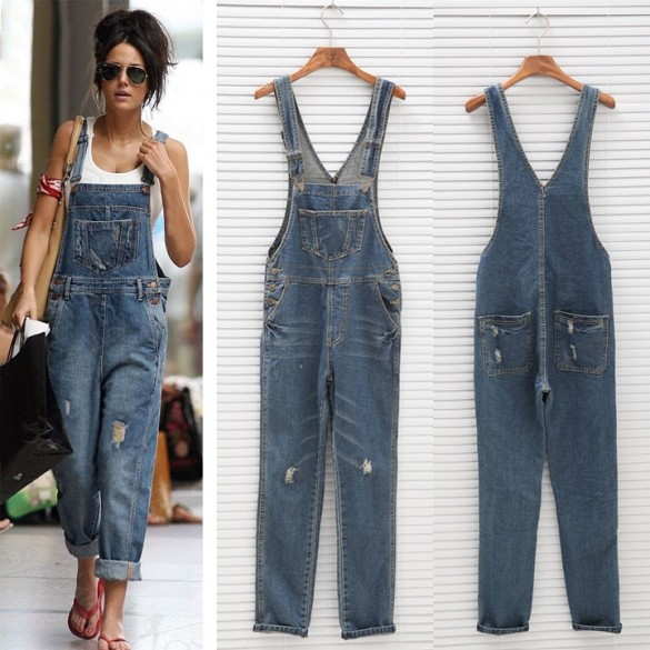 e63cd72ffa6b 2017 New Womens Ladies Baggy Denim Jeans Full Length Pinafore Dungaree  Overall Jumpsuit