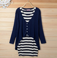 Maternity Clothes Suit 2pc Cardigan+Dresses Top Set Pregnant Women`s Plus Size Long Sleeve Stripe Dress