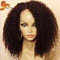 360 Frontal Del Cordón Peluca Afro Rizado Rizado Sin Cola peluca Llena Del Cordón Humano pelucas Mongol Rizada rizada Del Pelo Humano Pelucas Delanteras Del Cordón Negro de Las Mujeres