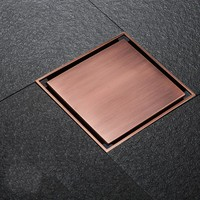 Antique Red bronze Square 4 Inch 100*100mm Brass Floor Drain with Tile Insert Grate Removable Cover,Strong visual impact