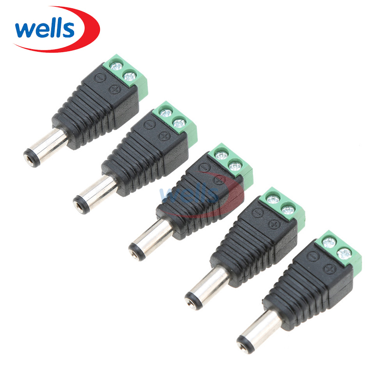 Atacado 100 pçs/lote DC Power Masculino Jack Connector Plug Adapter 5.5x2.1mm Para Câmera CFTV 2pin 5050 3528 única Cor de Luz LED