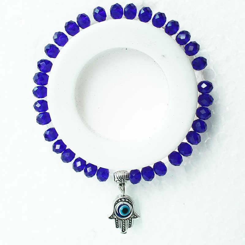 Fashion Hamsa Blue Turkish Evil Eye Charm Bracelet For Women Little Girl Glass Crystal Beads Bracelets Hand Of Fatima Jewelry