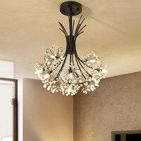 현대 크리스탈 led 램프 민들레 디자인 꽃 샹들리에 lustres 거실 로비 부엌 장식 홈 조명기구