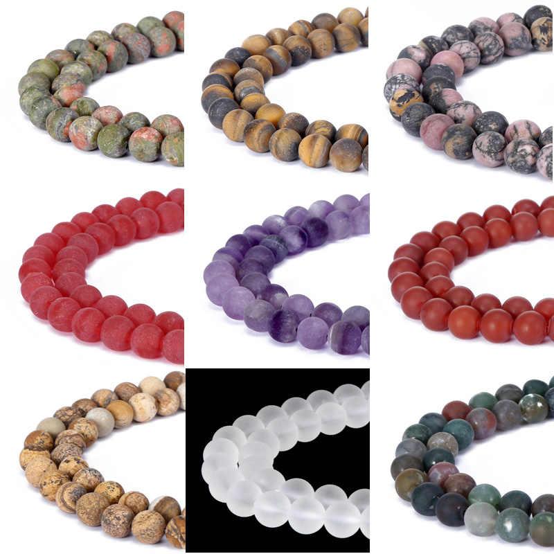 Preto fosco onyx lapis lazuli rosa quartzo contas de pedra natural para fazer jóias diy pulseira 4 6 8 10 12mm transporte da gota