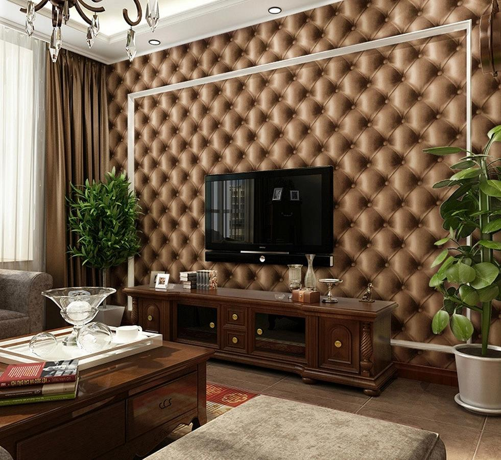 ФОТО 3D stereoscopic soft grain leather bag wallpaper TV backdrop wallpaper bedside storefront background