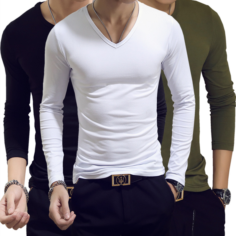 Spring Autumn Period Long Sleeve Cultivate One's Morality Men's   T  -  shirt   Sets O-neck Solid Polyester   T     Shirt   Men Red Blue Black