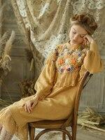 Линетт's CHINOISERIE осень зима новый оригинальный дизайн для женщин Свободные Мори обувь для девочек Виктория Винтаж кружево Вышивка Трикотажны