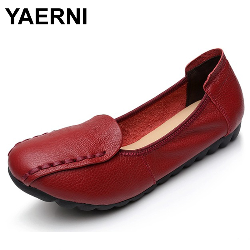 YAERNI Spring/Autumn Woman Handmade shoes Genuine Leather Flats Women Casual Shoes Breathable Slip-on Soft Bottom Loafers