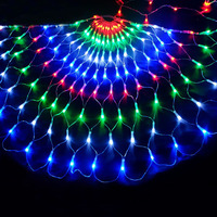 BEIAIDI 3M 444LED 3pcs Peacock Christmas Mesh Net Fairy LED String Outdoor Wedding Window Icicle Fairy String Light Garland
