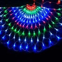BEIAIDI 3M 444LED 3pcs Peacock Christmas Mesh Net Fairy LED String Outdoor Wedding Window Icicle Fairy String Light Garland
