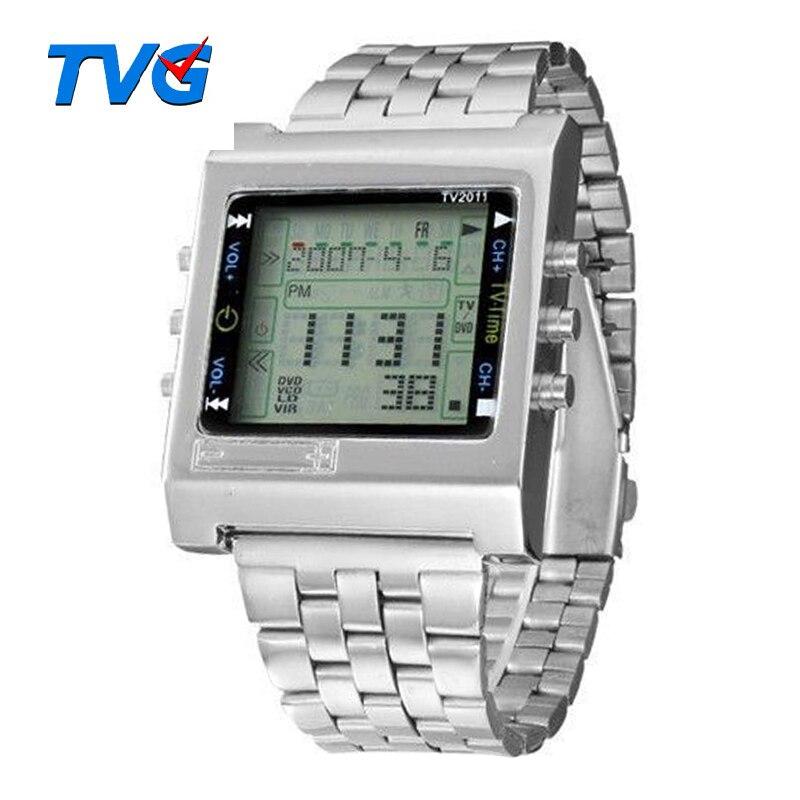 1983c6fb3a3 Nova Retângulo TVG relógio Do Esporte Digital de Alarme de Controle Remoto  TV DVD remoto Homens e Senhoras relógio de Pulso de Aço Inoxidável