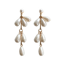 Pearl earring female Fashion simple pearl stud earrings for women Imitation pearl gold long women earrings Jewelry wholesale