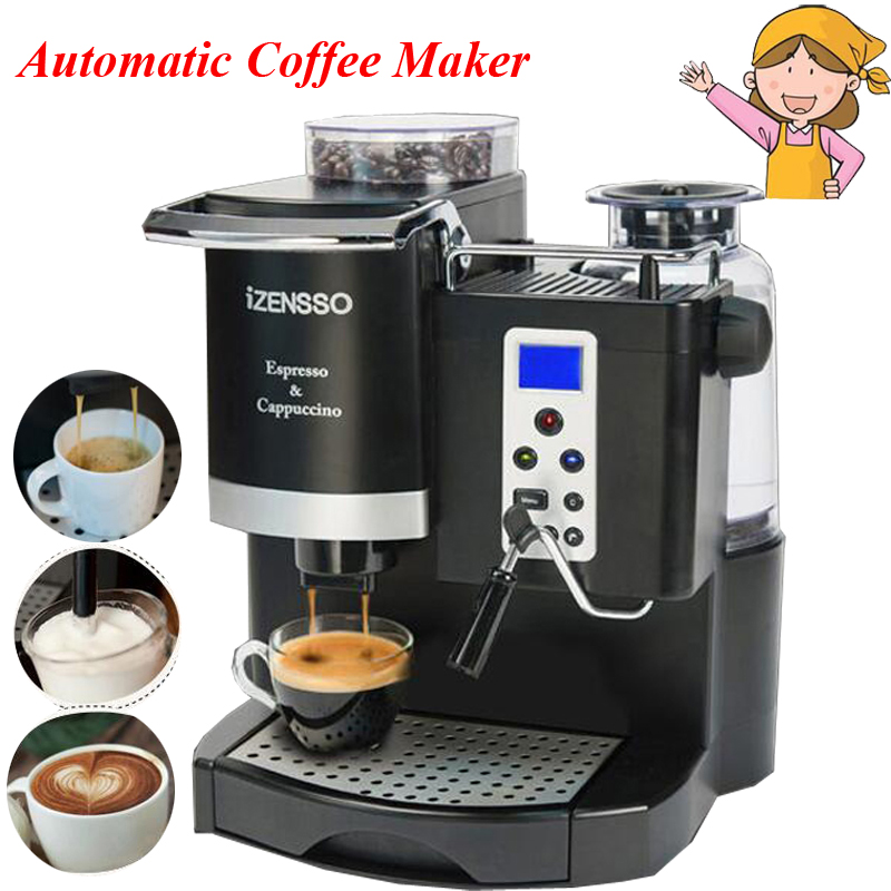 Automatic Espresso Machine in English Version Coffee Maker with Grind Bean and Froth Milk for ...