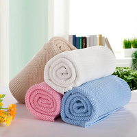 New Style Cotton Knitted Summer Blankets 120*180cm Adults Solid Color 85*105cm Spring Sleeping Bedspreads for Children Gift