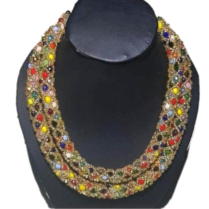 4 bijoux Dubai beaux ensembles de bijoux or Champagne coloré nigérian bijoux concepteurs cristal collier de mariée boucles d'oreilles tour de cou