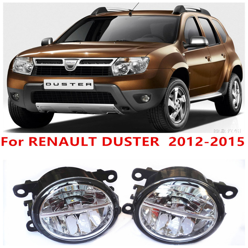 ФОТО For RENAULT DUSTER  2012-2015 10W Fog Light LED DRL Daytime Running Lights Car Styling lamps