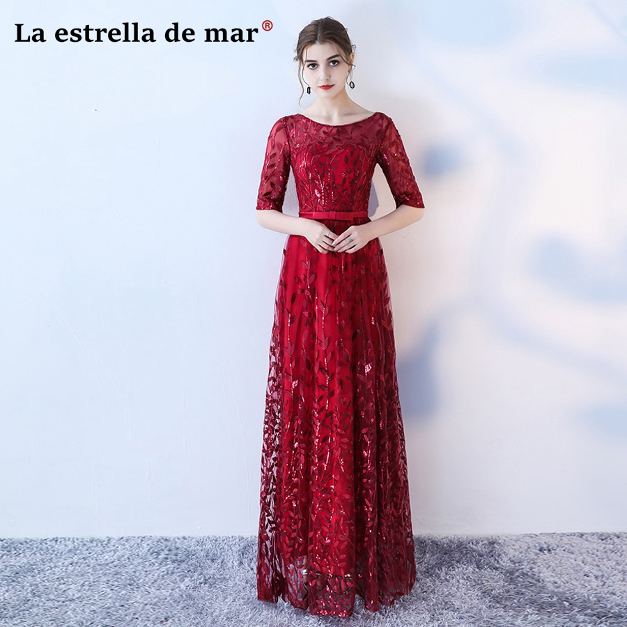 robe demoiselle d'honneur2018 lace sexy V neck Half sleeve Burgundy navy blue   bridesmaid     dresses   plus size wedding party gown