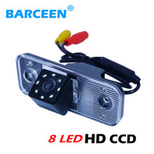 Ccd obiettivo di vetro materiale car rear telecamera di retromarcia colorful night vision + 8 luci led per Hyundai Santafe nuovo Santa Fe Azera(China)