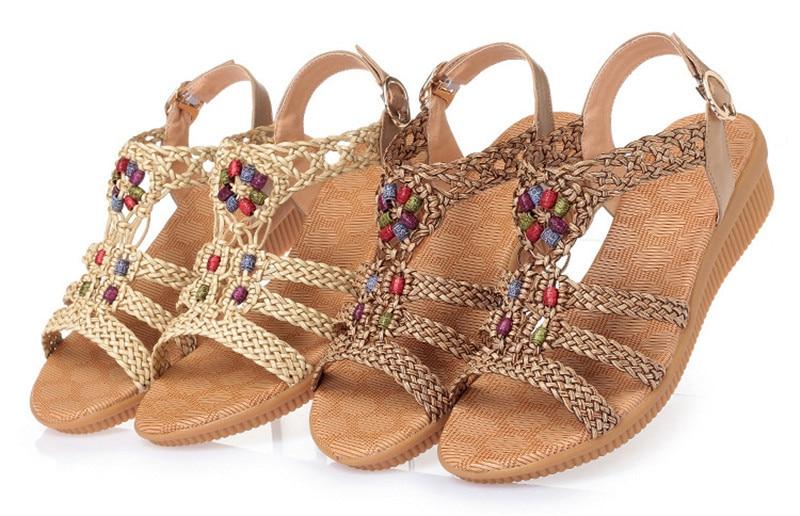 YAERNI 2019Ethnic Women sandals summer woven sandals breathable women wedge sandals zapatos mujer size 35-42E969