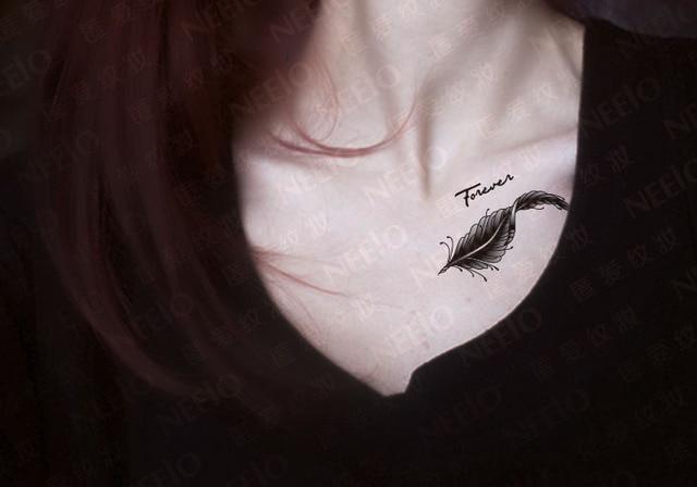 Tatouages tatouage temporaire autocollants Body Graphics éternelle plume  d\u0027oie clavicule plumes autocollants imperméables femme