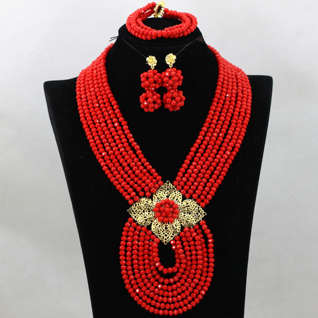 Trendy 7 Layers Tomato Red African Fashion Jewelry Set Costume Nigerian Traditional Wedding Beads