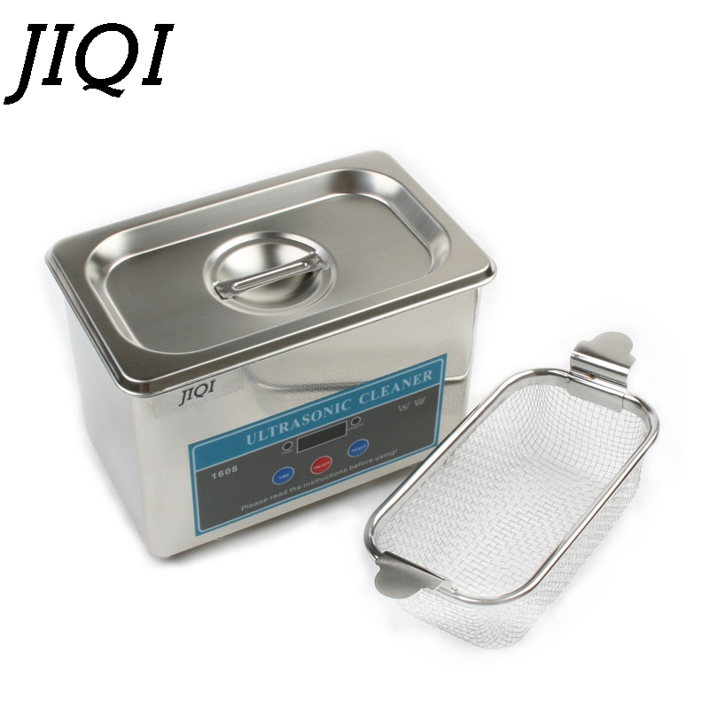 JIQI Ultrasonic Cleaner Stainless Steel Washing Bath Machine Glasses Jewelry Watch Denture Mini Ultrasound Wave Cleaning Tank EU стоимость