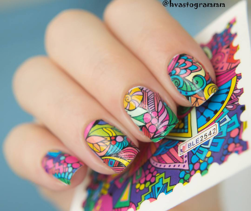 Full color nail art - 2016 New 1 Sheet Nail Art Water Decals Fashion Colorful Pattern Nail Art Water Sticker Ble2542