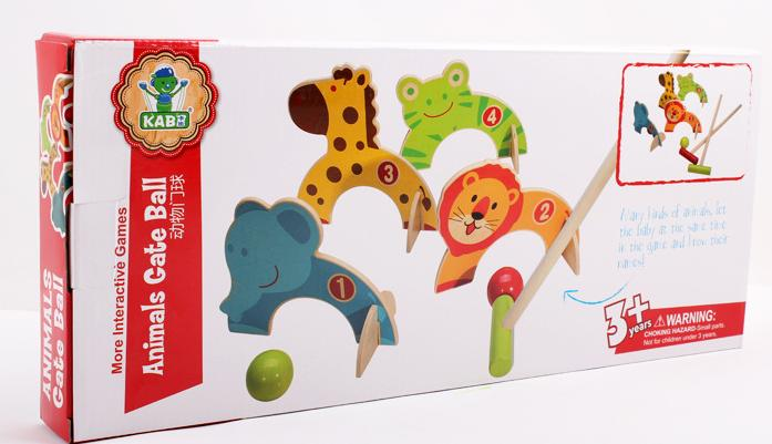 Free shipping More interactive Games Animals Gate Ball Children/kids wooden gate ball toy, scale models animals gate ball