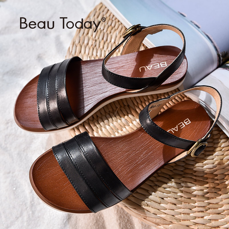 BeauToday 夏フラットサンダル女性ブランド新シープ革バックルストラップトップ品質の靴手作り 32110  グループ上の 靴 からの ローヒール の中 1