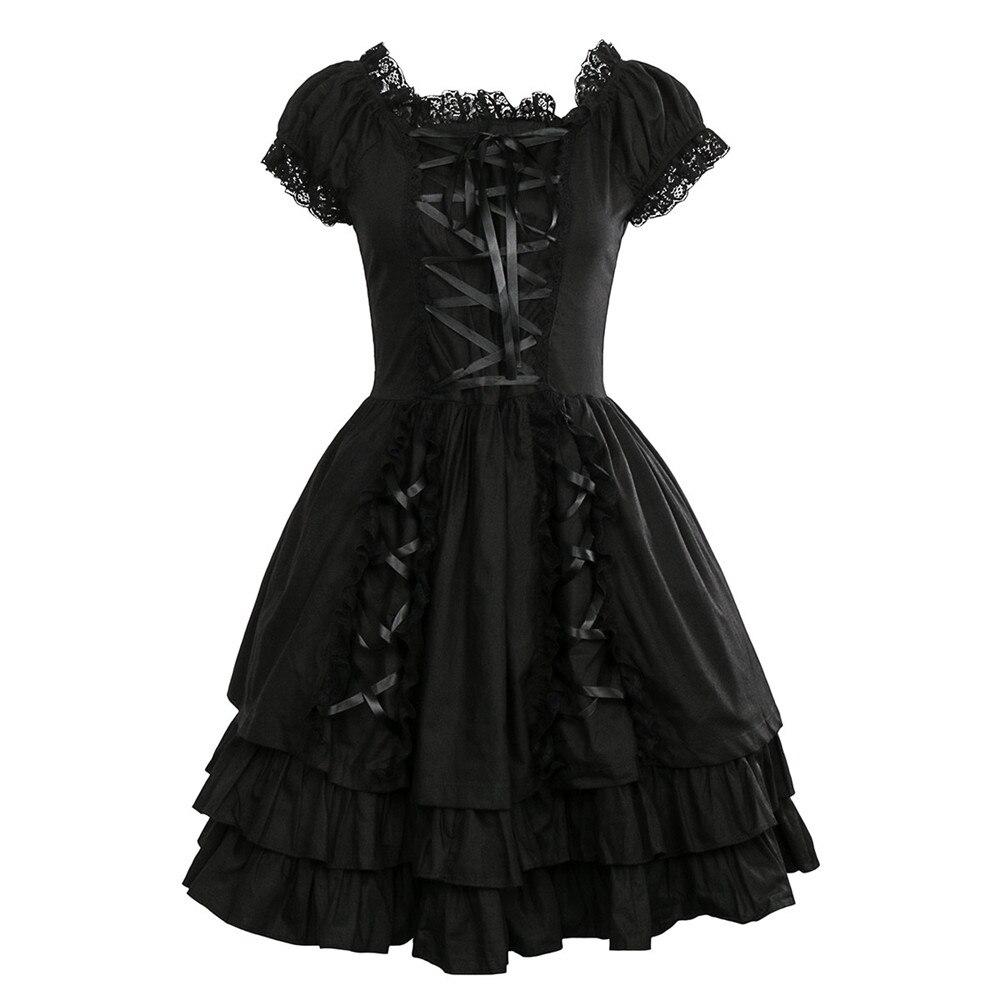 Takerlama Womens Classic Black Layered Lace Up Cotton Short Sleeve Gothic Lolita Dress Punk Clothing Costumes Dress
