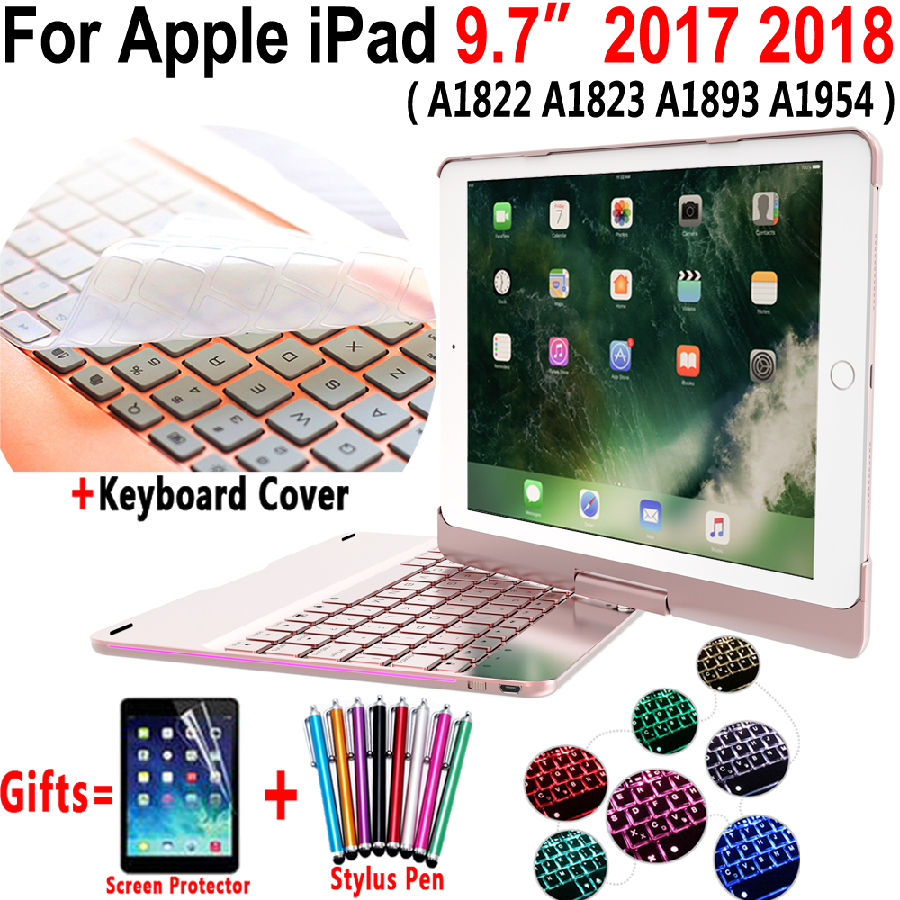 360 Degree Rotable 7 Colors Backlit Bluetooth Keyboard Smart PC Case Cover for Apple iPad 9.7 2017 2018 5th 6th Generation A1954