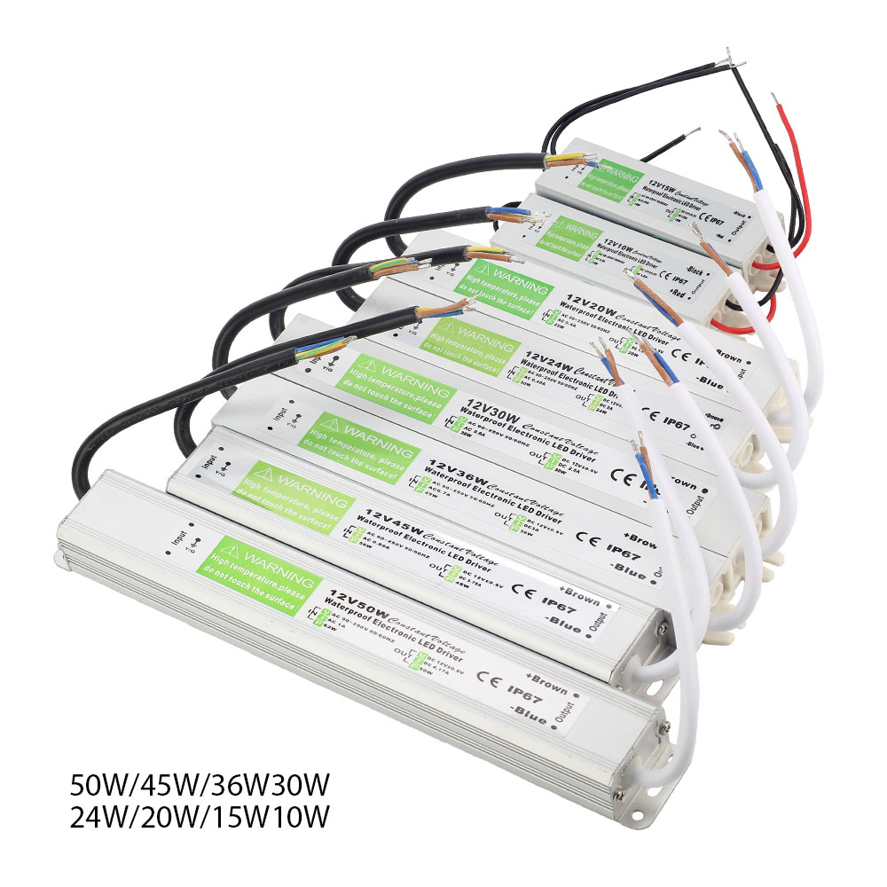 IP67 DC 12V Driver de LED à prova d' água 10W 15W 20W 24W 30W 36W 45W 50W de potência Transformador de alimentação para LED strip luz Ao Ar Livre Iluminação