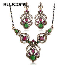 Blucome Turkish Statement Necklace Earring Set Retro Resin Crystal Wedding Bridal Flower Vintage Jewelry Sets For