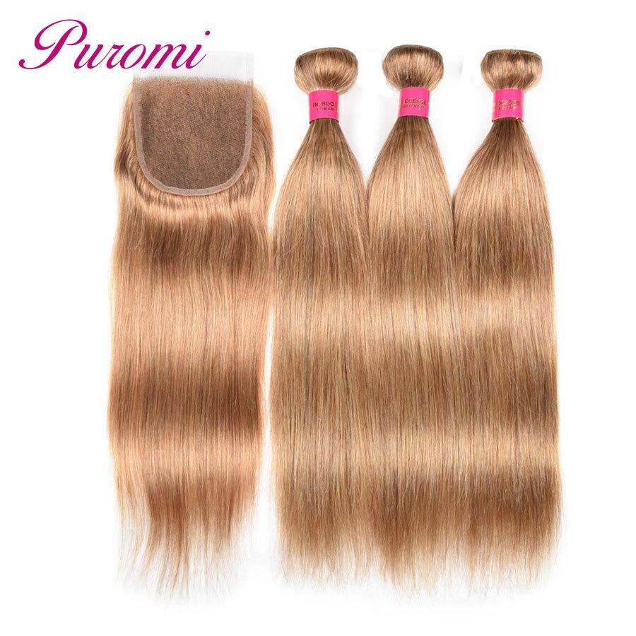 Puromi Straight Hair with Closure Cheuveux Humain Honey Blonde Bundles With Closure Peruvian Hair 3 Bundles