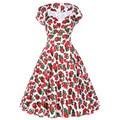 Mujeres 50 Rockabilly Vestido 2016 Verano Impreso Floral de Manga Corta Con Cuello En V de La Vendimia Oscilación Audrey Hepburn 60 s 1950 s Vestidos de baile