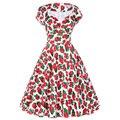 Women 50 Rockabilly Dress 2016 Summer Floral Printed Short Sleeve V Neck Vintage Swing Audrey Hepburn 60s 1950s Dance Dresses