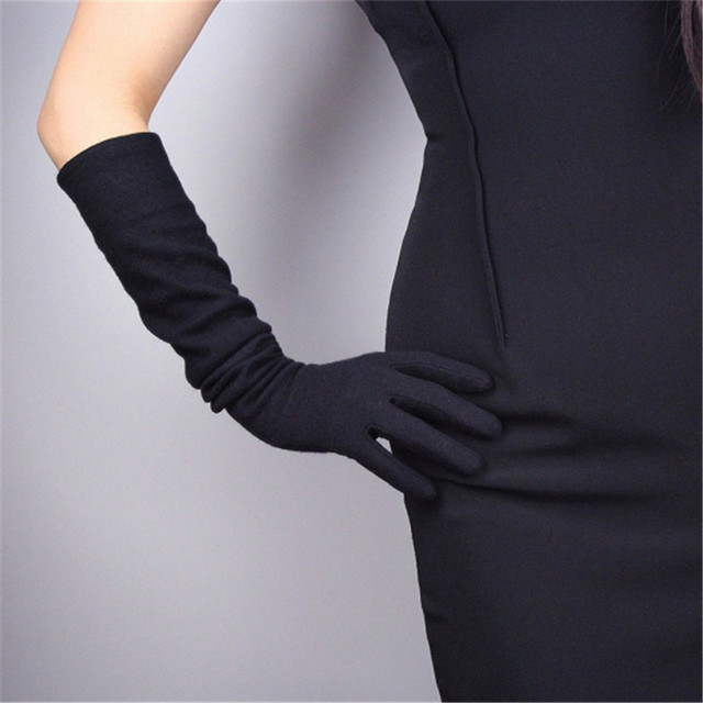 Cashmere Wool Women's Gloves 50cm Long Elastic Vintage Evening vestido Gloves Female Classical French Stylish Elegance TB26-9 1
