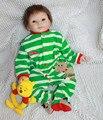 55 СМ мальчик Зеленые одежды Возрождается Детские игрушки Куклы ВЫСОКОЕ КАЧЕСТВО импортные силиконовые Лучший НОВОГОДНИЙ Подарок для Девочки Бесплатная доставка