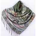 Venta caliente Clásico Verde Reversible Dos Caras Pashmina Mantón de Las Mujeres Bufandas de La Bufanda Tamaño 70x190 cm MF02
