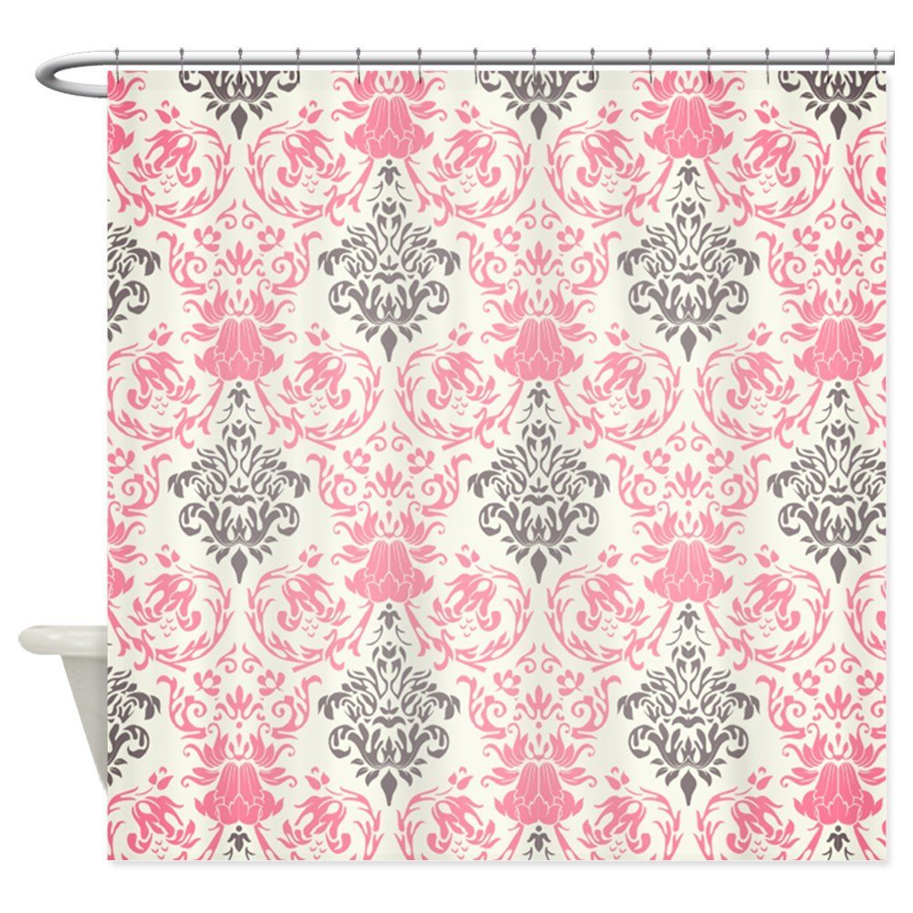 Pretty Pink And Gray Damask - Decorative Fabric Shower Curtain (69x70)