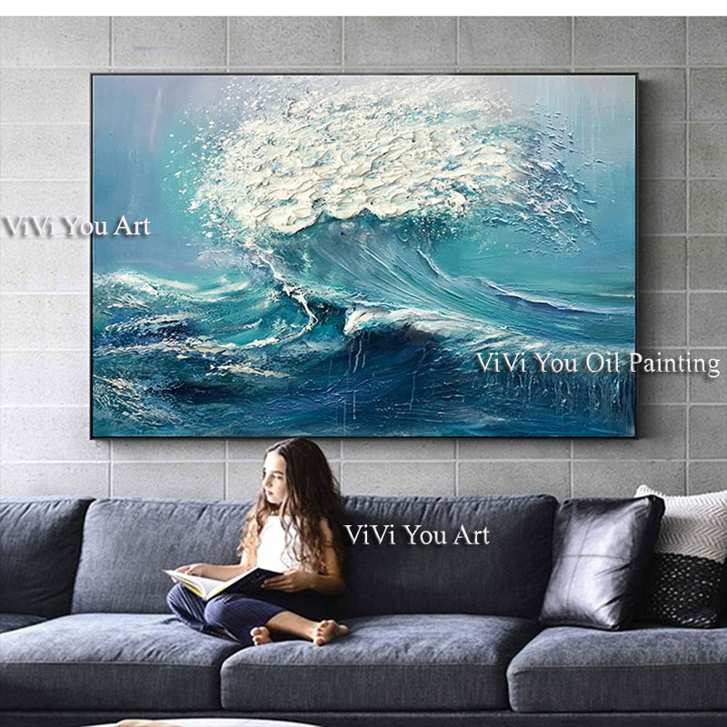Image 5 - Large size Handpainted WALL Painting waves sea ocean stock wall 