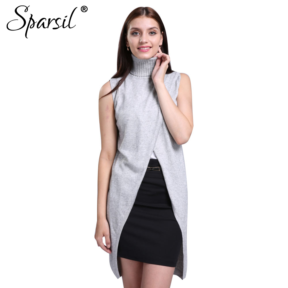 Sparsil Women's Soft Turtleneck Cashmere Blend Sweater Sleeveless ...
