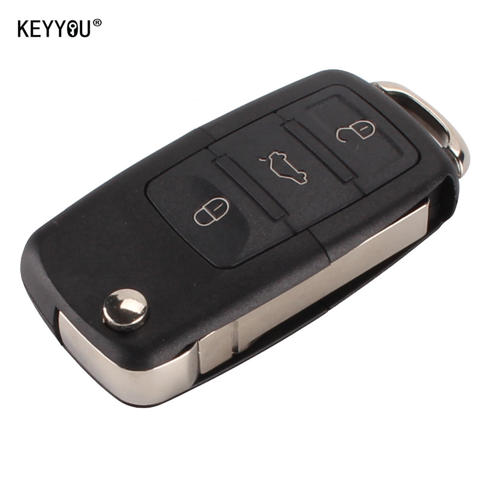 KEYYOU Folding Car RemoteFilp Flip Key Shell Case Fob For Volkswagen Vw Jetta Golf Passat Beetle Polo Bora 3 Buttons with LOGO